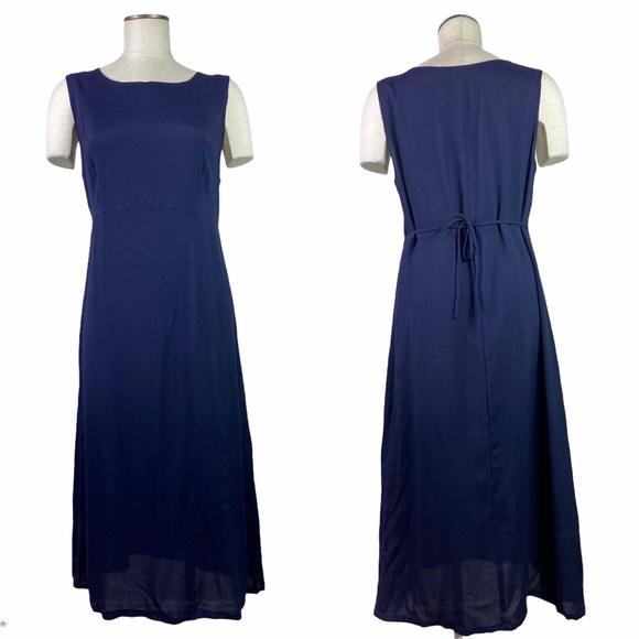 Vintage Navy Empire Waisted Dress Lagenlook